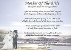 PERSONALISED MOTHER OF THE BRIDE* GROOM* THANK YOU POEMS*A4 GLOSSY*