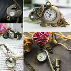 26 Style Antique Bronze tone Necklace Pendant Quartz Pocket Watch