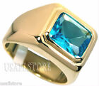 Mens Aqua Marine Solitaire 18kt Gold Plated Ring