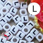 """L"" White Square Alphabet Letter Acrylic Plastic 7mm Beads 37C9129-l"