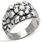 Seven Clear Stones 0.30ct Silver Stainless Steel Mens Ring