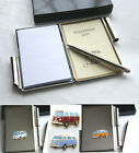 CLASSIC CAMPER VAN BADGE CRESTED SHINEY CHROME ADDRESS NOTE BOOK PEN SEE OPTIONS