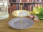 Kate Alice Ditsy Floral Shabby Chic Two Tier Fine Bone China Cake Stand Plate