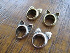 KITSCH BOHO VINTAGE RETRO BRONZE ANTIQUE GOLD CAT EARS RING JEWELLERY SIZE N