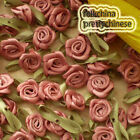 RosyBrown Polyester Ribbon Roses Leaf 15mm Appliques Scrapbooking Sewing JMPSL