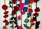 3-D IMPORTED & HANDMADE WOOL MORNING GLORY FLOWER VINE SCARF+WINDOW DRAPING-NEW