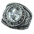 Clear Stone US Navy Military Silver Stainless Steel Mens Ring