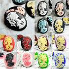 Vintage Resin Flatback Skull Girl Cabochon Cameo Lots Wholesale Free Ship RB0619