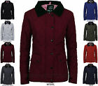 WOMENS LADIES QUILTED PADDED ZIP BUTTON WINTER JACKET COAT SIZE 8 10 12 14 16