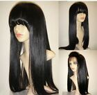 SILK TOP FULL/FRONT LACE WIG W/ FRINGE BANG Silky Straight 100%INDIAN HUMAN HAIR