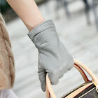 Luxury Women Italian Genuine Nappa Leather Winter Warm ruched lined Gloves
