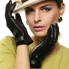 Lady Italian geniune nappa & suede leather winter warm gloves w/ decorative bow