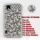 White Pearl &  Crystal Diamond Plastic Back Case Cover For Mobile Cell Phone #B