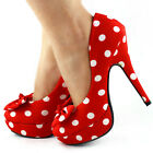 New Womens Red White Polka Dots Bow EVE Platform Shoes US Size 4/5/6/7/8/9/10