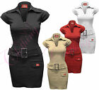 Womens Ladies Miss Sexy Zip Front Buckle Belt Dress Bodycon Dresses Top Trousers