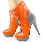 New Orange Grey Two Tone Buckles Platform Ankle Boots US Size 3/4/5/6/7/8/9/10
