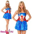 Ladies American Captain Woman Super Hero Fancy Dress Halloween Superhero Costume