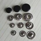 """50 Leather Rapid Rivet Button Snaps Fasteners 10mm 12mm 15mm 3/8""""1/2"""" 5/8"""" Black"""