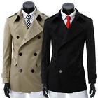 Men's Double-Breasted Trench Coats Jackets Casual Slim Overcoat Windbreaks AH924
