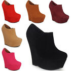 NEW WOMENS LADIES ANKLE FAUX SUEDE PLATFORM HIGH HEEL WEDGES SHOES BOOTS 3-8 UK