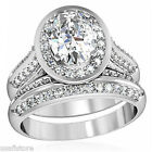 Oval Shape CZ Wedding Band Rhodium Plated Ring Set