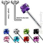 2pc. 20G~0.8mm .925 Sterling Silver Nose Stud w/ 2.5mm Square CZ (Specify Color)