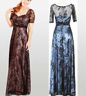 New Short Sleeve Black Lace Satin Cocktail Party Formal Dress Evening Gown