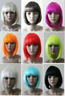 Black White Blonde Brown Red Pink Orange Purple Glam Blunt bob with fringe wig