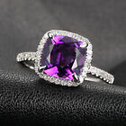 VS 8mm Cushion Amethyst Micro Pave H/SI Diamond Claw Prongs Halo Engagement Ring