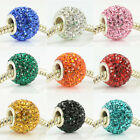 11mm x 13mm SOLID COLOR CRYSTAL 925 STERLING SILVER CORE EUROPEAN CHARM BEAD 1PC