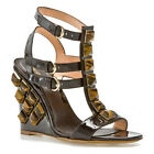 SERGIO ROSSI SHOES GLADIATOR WEDGE TIGER EYE LEATHER BROWN sz 36 , 38.5