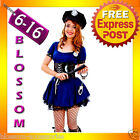 896 Ladies Cop Police Officer Uniform Fancy Dress Halloween Outfit Costume & Hat