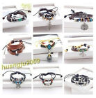 New Cute Unisex Hemp Leather Braided Hand-made Bracelet Wristband Cool 26 Styles