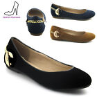 LADIES FLAT SUEDE LOAFERS WOMENS GOLD CHAIN PUMPS CASUAL SLIP ON SHOES 3-8