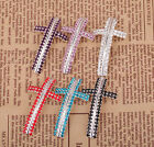 1Pcs Silver Plated Crystal Cross Curved Connectors For Wedding Bracelet 50mm