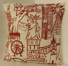 NEW SINGLE CUSHION COVERS NURSERY CHILDRENS PLAY ROOM RED AND OFF WHITE