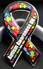 Autism Awareness UK Ribbon, Lapel pin, Tie Pin, 2 sizes avialable.