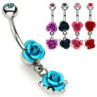 Colorful Double Metal ROSE Gem Top BELLY Button NAVEL RING Body Piercing Jewelry