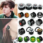 PAIR Double Flared / Screw-On Logo Ear Plugs Flesh Tunnels Acrylic Guage