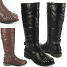 WOMENS LADIES KNEE HIGH FLAT LOW HEEL BIKER STUD STUDDED BUCKLE RIDING BOOTS