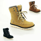 NEW WOMENS LADIES GIRLS LACE UP WINTER SNOW ANKLE BIKER BOOTS UK SIZE 3-8 6662