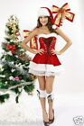Ladies Sexy New Santa Costume Christmas Xmas Elf Hat Fancy Dress Velvet Costumes