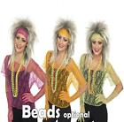 Ladies 80s Lace Top Fancy Dress Costume 1980s Vest Outfit Hen Party Gloves Beads