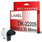 1 2 5 10 20 50 ROLLS DK-22205 WHITE COMPATIBLE Printer Labels 62 x 30.48mm