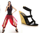 $1,125 YVES SAINT LAURENT SHOES TOTEM WEDGE BLACK LEATHER SANDALS