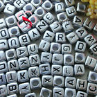 Silver Square Alphabet Letter Acrylic Plastic 6mm Beads 43C9308
