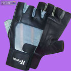 GREY & BLACK LEATHER WEIGHT LIFTING GLOVES BODY BUILDING GYM FITNESS TRAINING