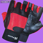 RED & BLACK LEATHER WEIGHT LIFTING GLOVES BODY BUILDING GYM FITNESS TRAINING