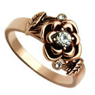 Ladies Flower With Crystal Rose Gold Plated Petite Ring
