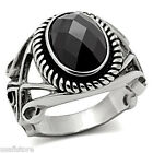 Jet Black Diamond Cut Wizard Silver Stainless Steel Mens Ring